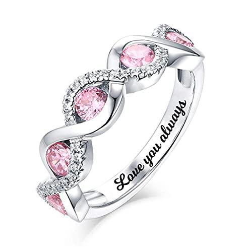 Yimesoy 925 anillo de plata para mujer 5 anillos de piedra de cumpleaños anillos de boda personalizados anillos de compromiso anillos de pareja