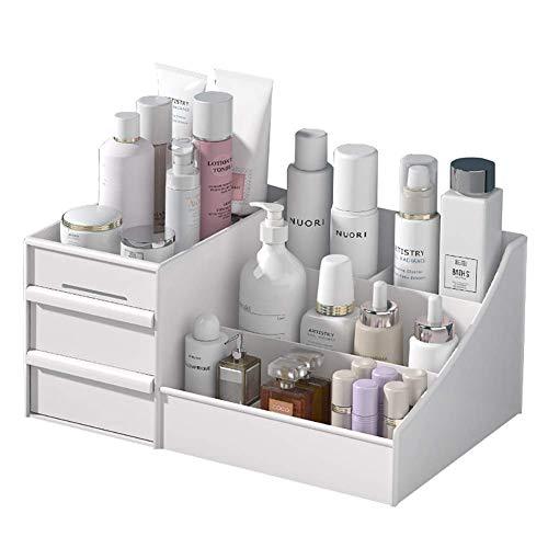 FLYTYSD Make-Up-Organizer, Kosmetikkasten-Schmucklagerungsfach Mit Schubladen, Eitelkeits-Arbeitsplatten-Vitrine Für Badezimmer-Kommode, Schlafzimmer,Weiß