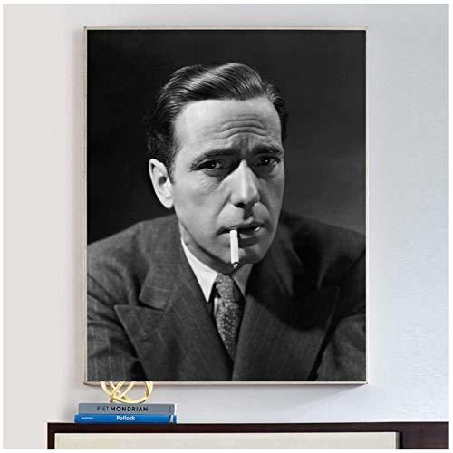 Suuyar Humphrey Bogart Smoking Poster and Prints Wall Art Print On Canvas for Living Room Home Bedroom Decorative Cafe-20X28 Inchx1 Frameless