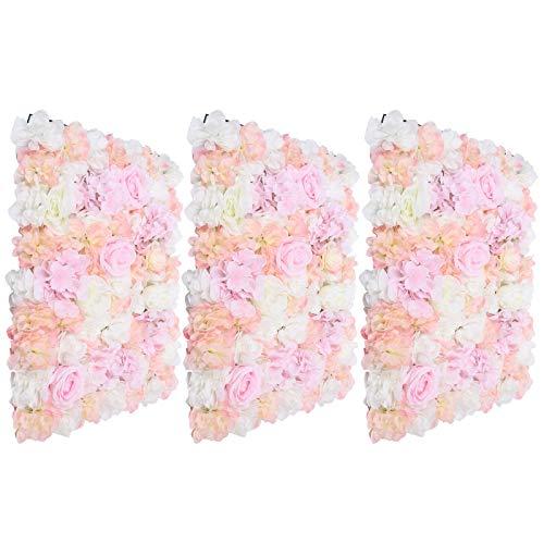 3 piezas de flores artificiales para pared de flores de seda, decoración de fondo, 40 x 60 cm, decoración para pared de flores, decoración de bodas
