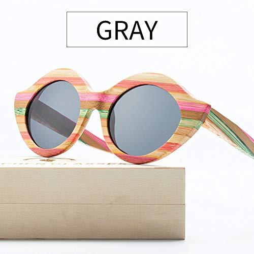 GSSTYJ Gekleurde bamboehouten zonnebril, gepolariseerde zonnebril voor vrouwen tijdens het reizen, outdoor-sporten, rijden, vrijetijdssport en activiteiten