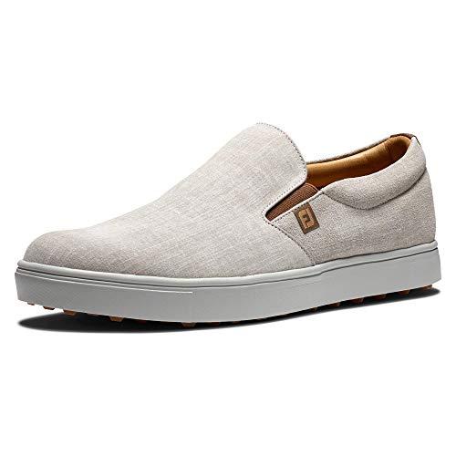 FootJoy Men's Club Casual Slip-On Golf Shoe, White/Silver, 11