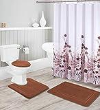 Badezimmer Collection Schokolade/Braun 16-teiliges Badezimmer-Zubehör-Set – rutschfeste Badematte, Konturmatte, WC-Deckelbezug & wasserdichter Duschvorhang mit rostfreien Metall-Rollhaken