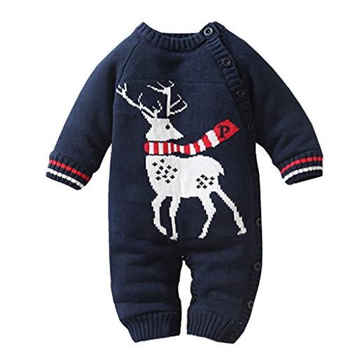 FELZ Mono Bebe Niña Niño Invierno Mameluco de Punto Estampado Elk De Navidad Peleles Navidad Bebé Niño Niña Crochet Punto Mameluco Tops Ropa Bebe Navidad Regalo De Año Nuevo Bebé