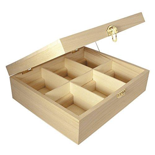 Rayher 62408000 Houten theebox, 21,5 x 18 x 7 cm, 6 vakken, natuurlijk, met metalen sluiting, theekastje, houten doos voor het opbergen van theezakjes, koffiepads, specerijen enz.