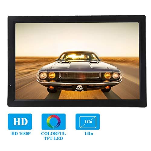 Bewinner Auto Fernseher 14 Zoll LCD Fernsehgerät mit DVB-T / T2 1080P Analogfernsehgerät ATV/UHF/VHF Tragbarer Digitalfernseher mit Fernbedienung Car Digital TV TV-Programm Aufnahme