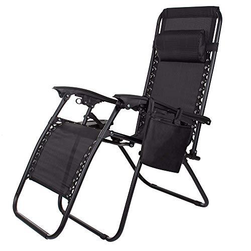 SPRINGOS Tumbona de jardín con reposacabezas, tumbona con mesa auxiliar, plegable, silla...