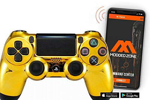 Smart Chrome Gold Face PS4 PRO Modded Controller for Rapid Fire FPS MOD Pack Custom Modded Controller for All Major Shooter Games Warzone & More (CUH-ZCT2U)