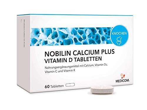 MEDICOM Calcium Plus Vitamin D Tabletten – 120 Stück, natürliches Vitamin D (Cholecalciferol) + Vitamin C + Vitamin K/Für Knochen und Zähne