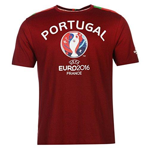 UEFA EURO 2016 Portugal Graphic Camiseta para hombre de fútbol granate, camiseta grande