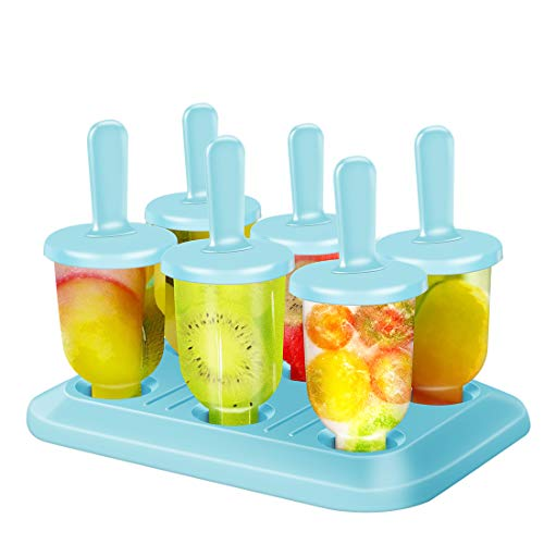 Hospaop Eisformen, Eislutscher Popsicle Formen, 6 Eisformen Popsicle Formen Set, BPA-freie Popsicle-Formen mit Sticks und Tropfschutz,Mini Eisform für Kinder, Baby, Erwachsene Mini Kühlschrank