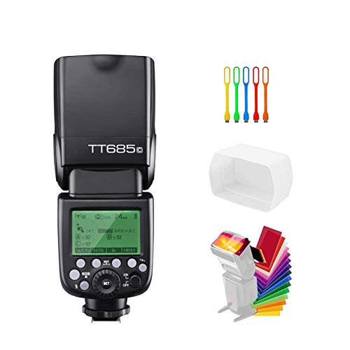 Godox TT685C E-TTL 2.4G GN60 High-Speed Sync 1/8000s Wireless Master Slave Camera Flash Speedlite Speedlight Compatible for Canon Cameras with Diffuser & Filter & USB LED