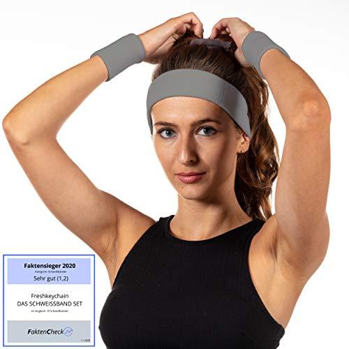 Freshkeychain Premium Schweißband Set - rutschfestes Stirnband und 2 hochwertige Schweißbänder für's Handgelenk - Dein 3er Vorteilspack + Kostenloses gratis E-Book (Grau)