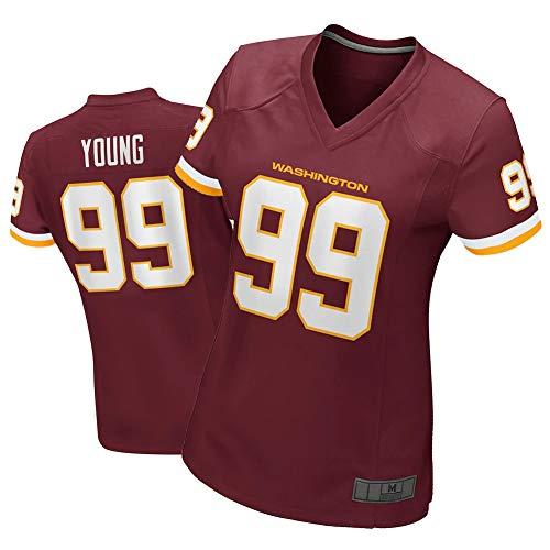 NCGD Chase Young Washington Camiseta para Mujer, Camiseta de Uniforme de fútbol Americano, Camiseta de Jugador de Juego, Color Burdeos-Burgundy-L