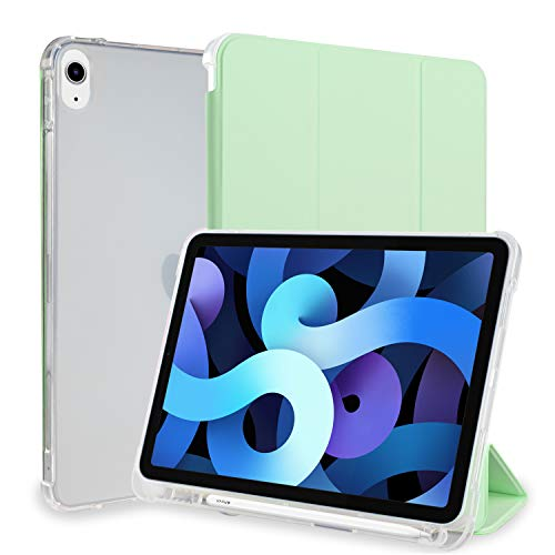 Neepanda Case for iPad Air 4th Gen 10.9 Inch 2020 with Pencil Holder, Supports 2nd Gen Pencil Charging, Soft TPU Translucent Frosted Back, Smart Trifold Stand Cover Case, Auto Wake/Sleep Matcha Green