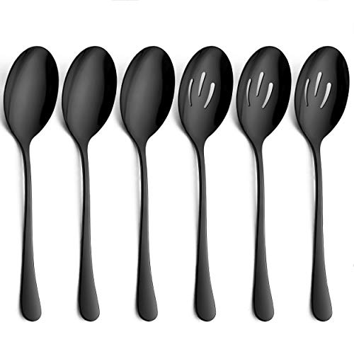 LIANYU 6-Piece Large Black Serving Spoons, Black Slotted Serving Spoons, Stainless Steel Serving Utensils for Party Buffet Restaurant Banquet Dinner Catering, Dishwasher Safe