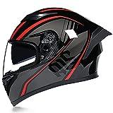 YLXD Casco per Moto Integrale Omologato ECE Casco Integrale Moto con Visiera Parasole ABS Certificato Casco per Scooter da Motocross per Donna E Uomo nelle Stagioni C,XL