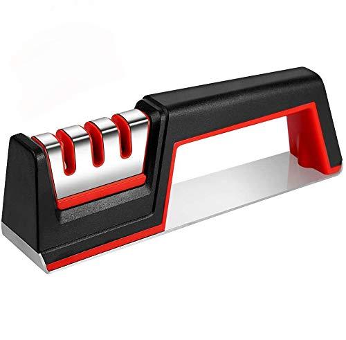 Vegena 3-en-1 Aiguiseur, Aiguiseur de Couteaux Manuel, Aiguiseur de Cuisine Professionnel pour Couteaux Ménagers de Toutes Tailles Base Anti-dérapante