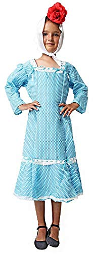 Gojoy Shop - Disfraz de chulapa madrileña para niña y mujer, contiene: vestido, mantón, pañuelo y clavel. (2 colores y 8 tallas diferentes.) (AZUL, 3-4 AÑOS)
