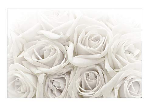 Vliestapete Weiße Rosen, Rosentapete Blumen Fototapete Breit Wandbild 255x384cm