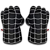 Superheros Boxing Gauntlet Powerful Smash Hands Fists Soft Plush Kid Boxing Training Gloves Halloween Cosplay Costume 1Pair (Black Spider)