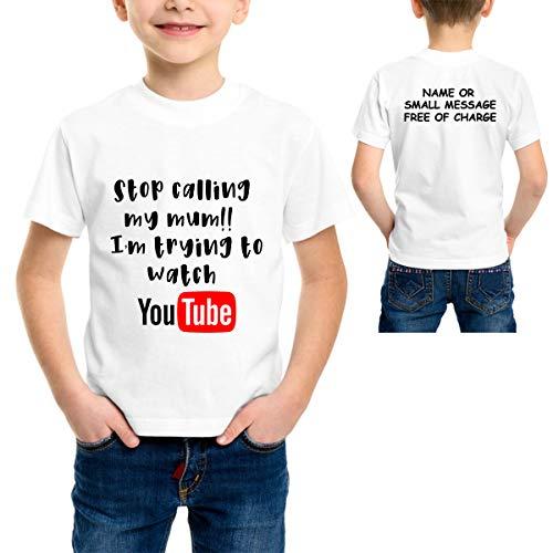 MGEAR stoppen met het bellen van mijn moeder, ik probeer te kijken naar YouTube grappige kinderen T-shirt jongens meisjes MU T-Shirt aangepaste tekst t-shirt gedrukt tee voor hem verjaardagscadeau