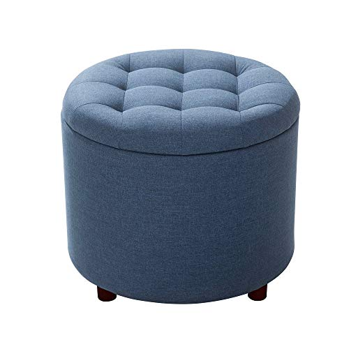 SJ Collection Marinella Upholstered Storage Ottoman with Convertible Serving Tray, Blue