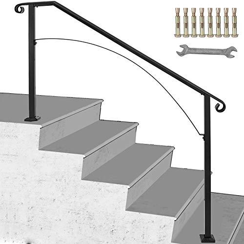 BuoQua Rampe d'Escalier Garde-corps pour Escalier Main Courante Noire pour Escalier Rampe en Forme Arche (4 à 5 Marches)