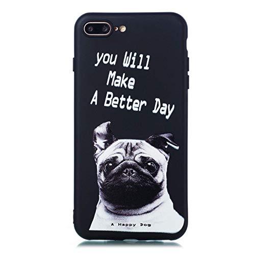 LAXIN Case For iPhone 7 Plus Black Slim Matte Cover Premium Matte Soft Case [Silicone TPU] iPhone 8 Plus - Pug