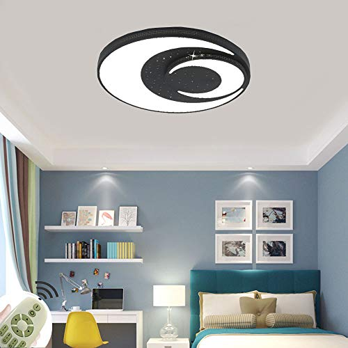 Deckenleuchte LED Kreative Stern und Mond 48W Runde Deckenlampe Dimmbar Mit Fernbedienung für Kinder im Zimmer Babyzimmer Schlafzimmer Wohnzimmer (Ø400x60mm Schwarzer Farbe)