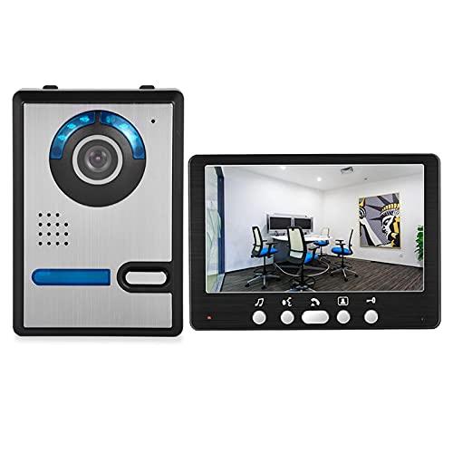 Timbre Con Video, Intercomunicador, Equipo De Sistema De Seguridad Para El Hogar Con Vigilancia Por Visión Nocturna Y Videoportero De 7 Pulgadas,1camera + 1monitor