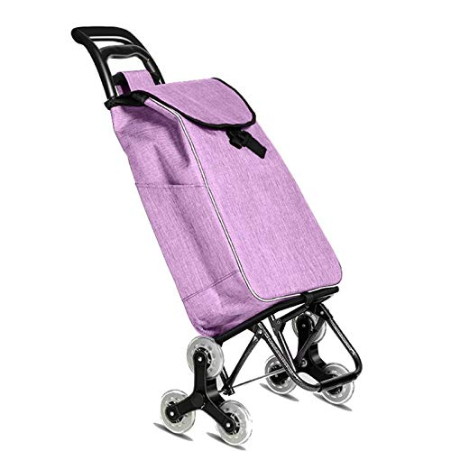 QXTT Grocery Trolley Cart Folding Shopping Trolley With 6 Wheels Grocery Stair Climbing Cart Waterproof Detachable Market Storage Bag In Lavender|Max Load 40KG