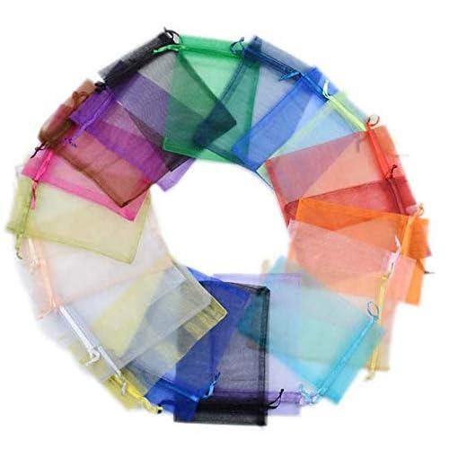 Yongbest Sacchetti Regalo in Organza,100 Pezzi Sacchettini Piccolini Borsa di Organza Bomboniera Candy Portamonete per Bomboniera Multicolor 9x12cm