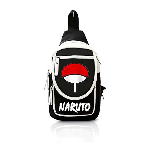 PAPLIU Bolso Bandolera Unisex Adolescentes con Carga USB Bolsos de Hombro Uzumaki Naruto Cartoon Messenger Bag Uchiha Sasuke Anime Bolso de Mano