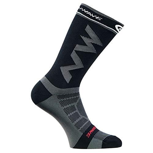 Calcetines Largos de compresión de los Hombres Adultos Respirables Calcetines de fútbol Calientes Baloncesto Deportes Antideslizante Ciclismo Escalada Calcetines para Correr (Negro)