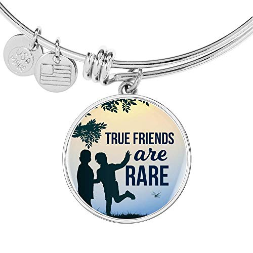 Express Your Love Gifts Friends are Rare Circle Bangle - Pulsera de acero inoxidable y oro de 18 quilates