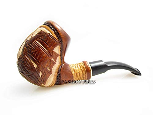 Fashion Decorated Smoking Pipe'SHIP' Carved Pear Root Wood + Pouch Gift!