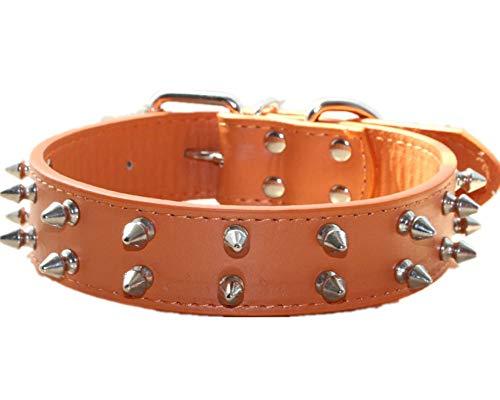 haoyueer Spiked Studded Leather Dog Collar for Medium Large Dogs Pitbull English Bulldog Boxer Collar(Orange,M)