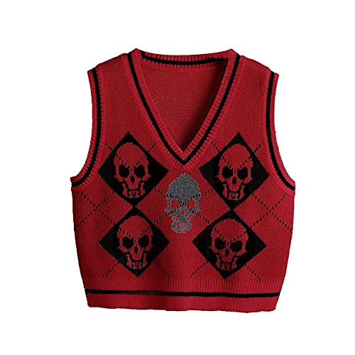 Pabuyafa Chaleco de punto gótico de Halloween para mujer Y2K Skeleton Print Knitwear Argyle V-cuello sin mangas de punto Tops, rojo vino, S