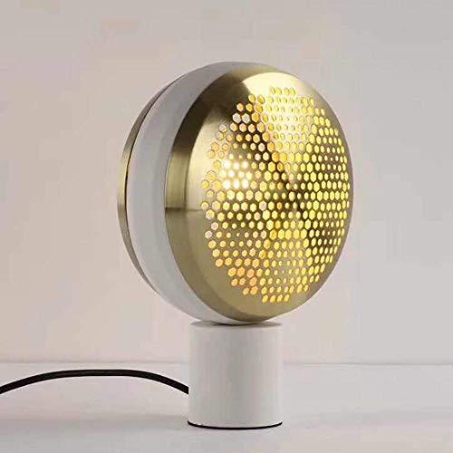 Rnwen Lámpara de Escritorio Lámpara de Mesa de Sala de Estar de Metal de Personalidad Simple lámpara de mesita de Noche de Dormitorio de investigación de cuadrícula 22.5 * 30.5cm (Color:Negro)