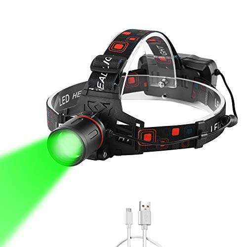 PROFORUS Hunting Headlamp Green Rechargeable, LED Headlamp with Green and White Light for Night Vision Zoomable Green Head Light for Camping Fishing Hog Coyote Varmint Hunting(White & Green LEDs)