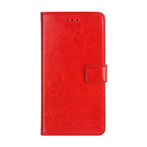 KISCO für Asus Zenfone 3 Deluxe ZS550KL Lederhülle,Leder Flip Wallet Magnetische [Kartensteckplätze][Standfunktion] mit Crazy Horse Textur Hülle für Asus Zenfone 3 Deluxe ZS550KL-Rot