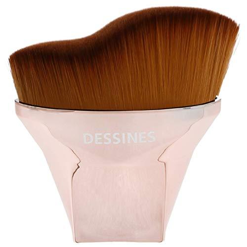Dessines Pinceau de maquillage professionnel synthétique – Pinceau pour fond de teint, correcteur, surligneur, contour, Kabuki, pinceau de maquillage (noir/or blanc) (fond de teint doré courbé)