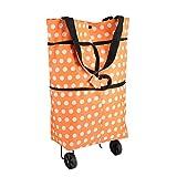 Bolsa de compras con ruedas con ruedas Paño Oxford plegable Naranja Ligero Resistente al desgaste Carros de hombro de doble uso(naranja)