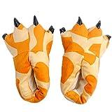 Rojeam Zapatillas de Animales Lindas con Garras para Hombres, Mujeres, niños, Zapatos de casa de Terciopelo Antideslizantes para Invierno(Jirafa,Medium)