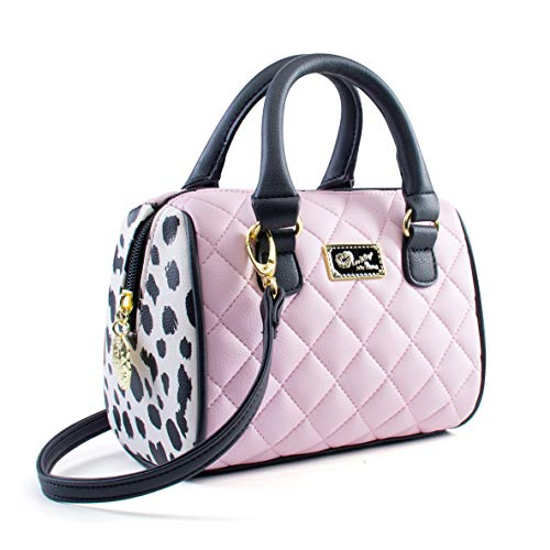 "This beautiful Mini Barrel Bag Measures; 7"" Width X 6"" Height X 3.5"" Depth, 100% PVC Top zipper closure, Top Dual Rolled Handles 3"" drop, Gold tone hardware Removable cross-body Shoulder strap with 25"" drop, Luv Betsey Johnson Logo Plate Blush quilte..."