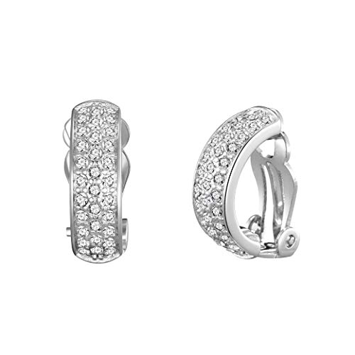 Silver Pave Clip On Earrings Created with Austrian Crystals