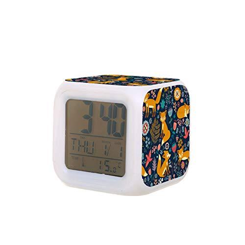 Alarm Clock Cute Foxes Bird Flroal Flowers On Navy Blue Digital Bedroom Alarm Clock with Night Light Kids Children Wake Up Bedside Battery Clock Birthday Gifts for Boys Girls Room Decor