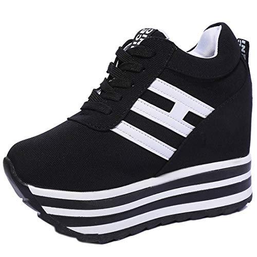 RAZAMAZA Mujer Moda Interior Tacon Alto Sneakers Zapatos Cordones Trainers Zapatos Tacón De Cuña Bombas Zapatos Punta Redonda Black Talla 38 Asian