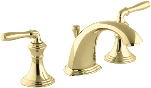 Kohler Devonshire K-394-4-PB 2-Handle Widespread Bathroom Faucet with Metal Drain Assembly in Polished Brass